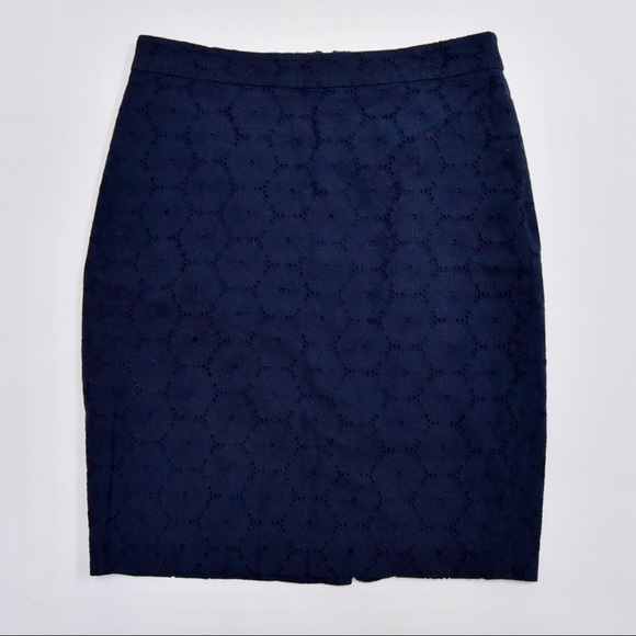 J. Crew Dresses & Skirts - J. Crew Navy Blue Floral Embroidered Pencil Skirt